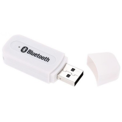 Portable white USB Bluetooth Audio Music Receiver Wireless Adapter 3.5mm USB