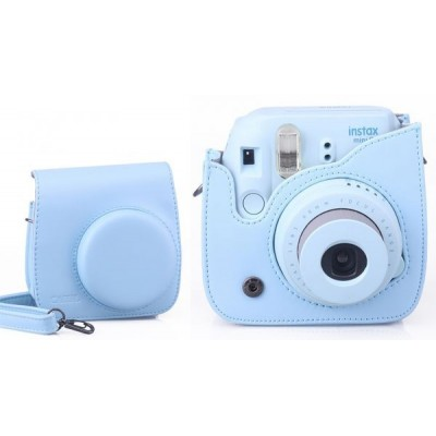 Fujifilm Instax Mini 8 Instant Film Camera Blue with PU Leather Protection Bag