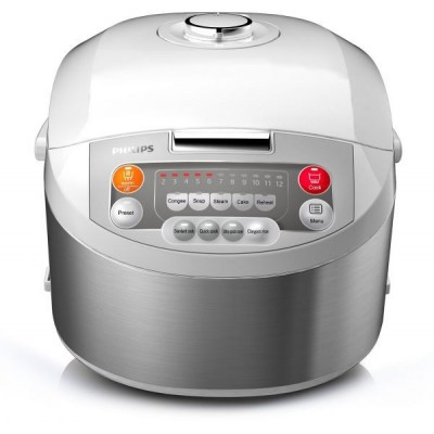 Philips Viva Collection Fuzzy Logic Rice Cooker Silver, HD3038
